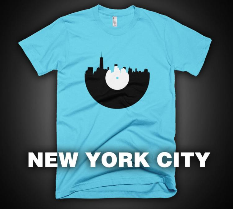City Skyline Music Record Design T-Shirt