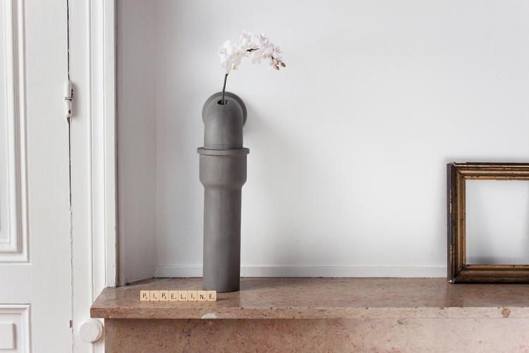 Industrial Pipes Concrete Flower Vases - Pipeline home design - Industrial piping interior design