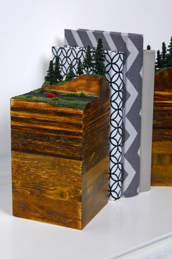 Wooden Layered Earth Bookends