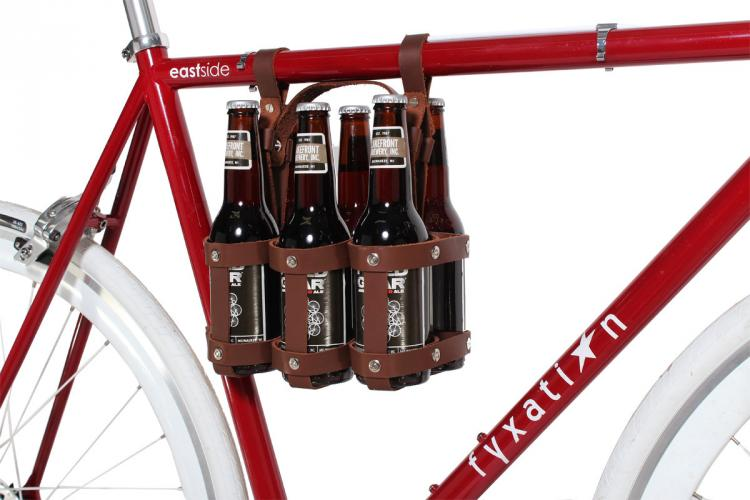Leather 6 Pack Of Beer Bicycle Carrier