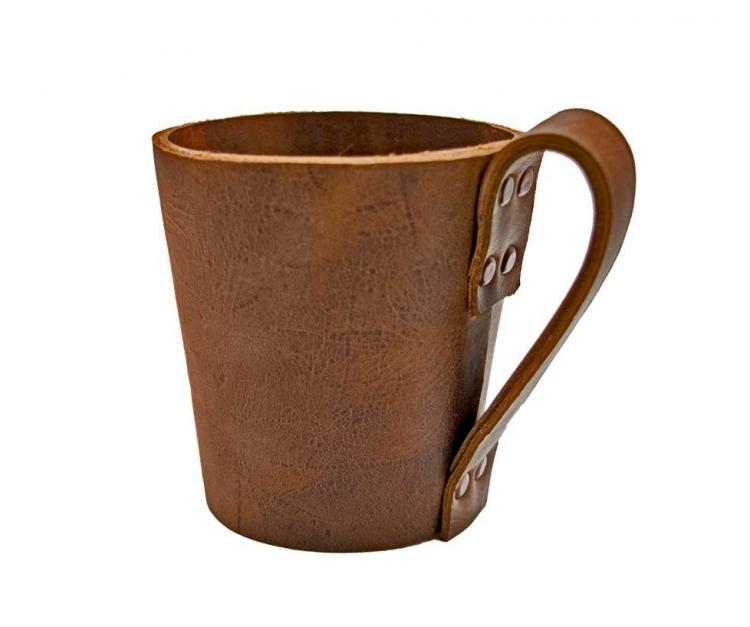 Leather Drinking Glass Sleeve With Handle