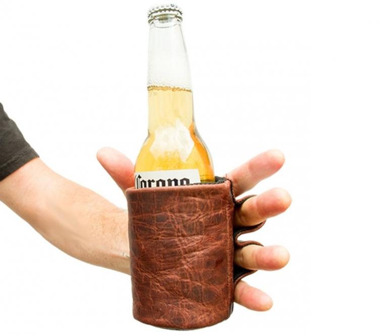 Leather Koozie With Finger Handles