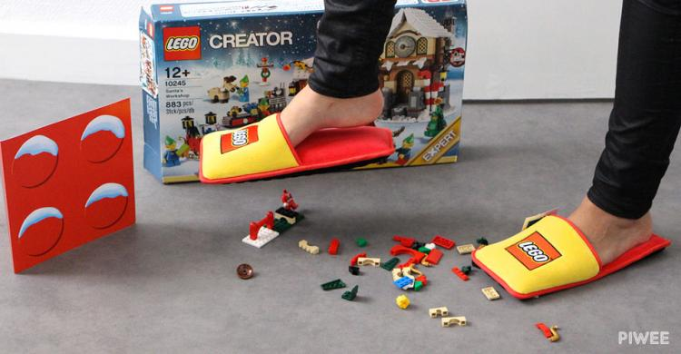 Lego Slippers Protect Bottoms of Feet From Sharp Lego Blocks