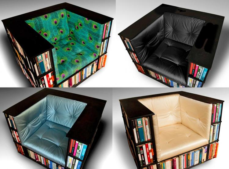 Library Chair - Bookcase reading chair - A reading chair that doubles as a bookcase