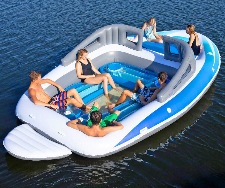 Life-size Inflatable Speed Boat - Giant 10-person blow-up boat lake lounger