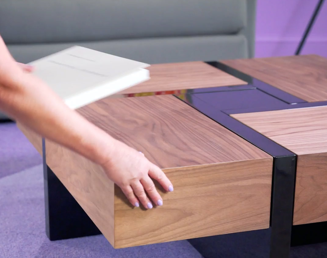 Lipscomb Solid Coffee Table with Storage - Wooden coffee table with 4 secret sliding drawers