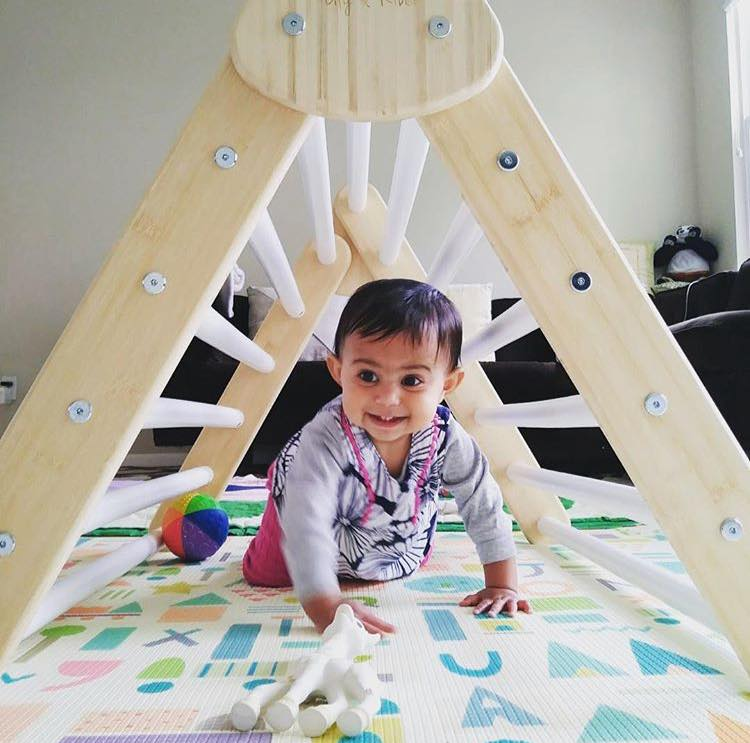 Little Climber Climbing Play Set Helps Babies Learn To Climb - Lily and River Bamboo Rockwall Climbing Toy