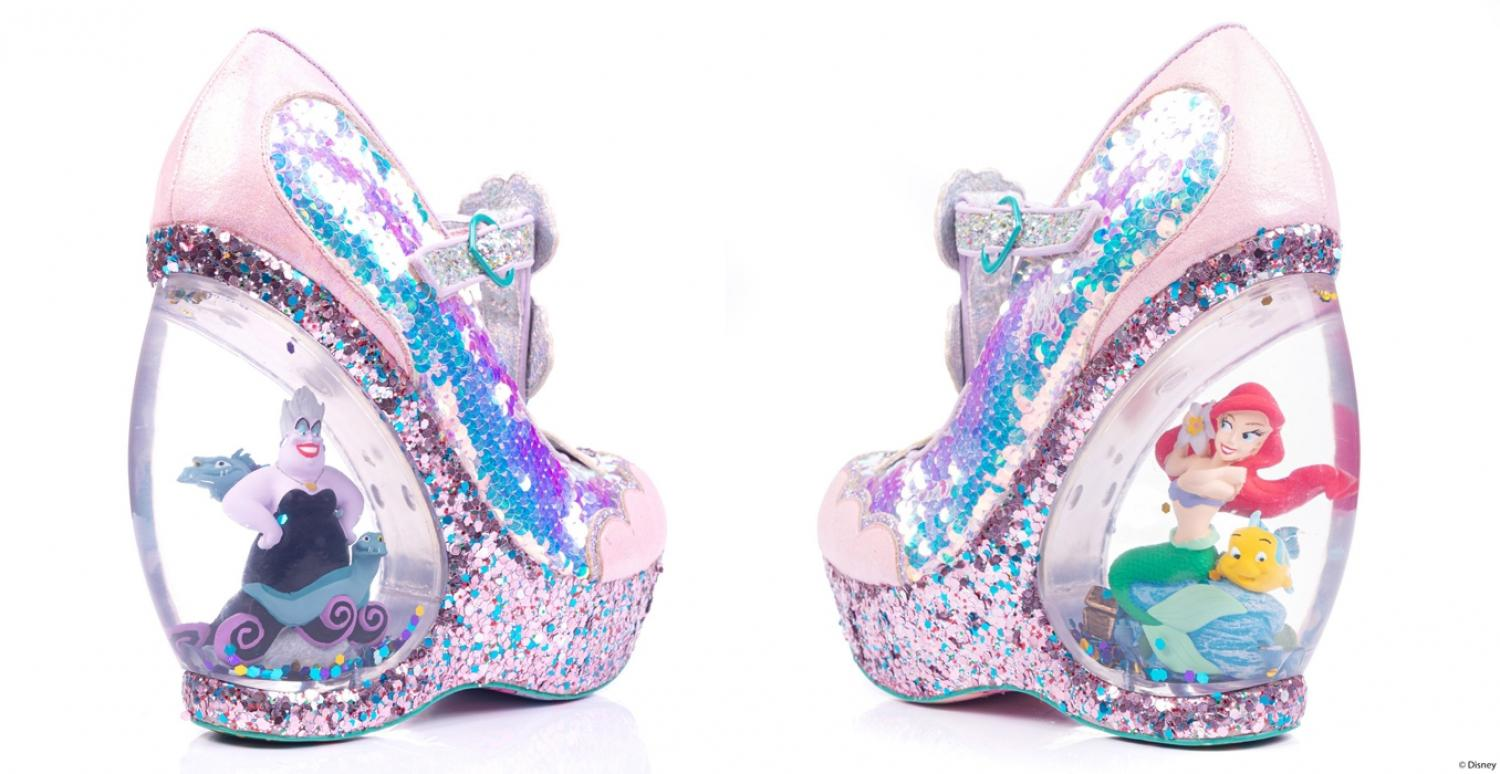 Little Mermaid Boots With Snow Globe Heels Featuring Ariel and Ursula Figurines Inside