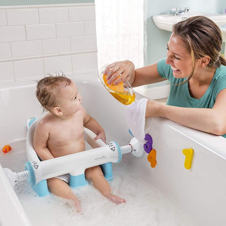 Baby Bathtub Seat With Backrest Suction Cups To Side Of