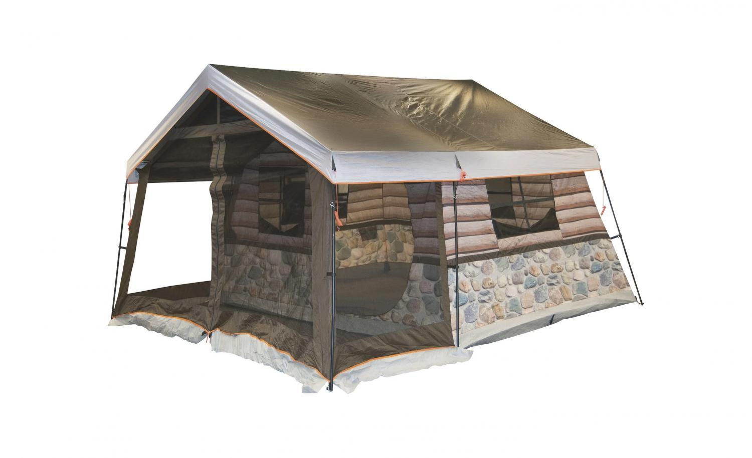 Log Cabin Tent With Front Porch - Giant 8-person tent looks just like a log cabin