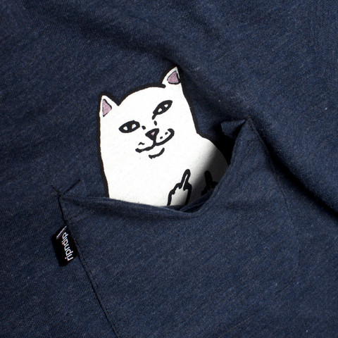 Lord Nermal - Hidden Cat Flicking You off In T-shirt Pocket - Blue