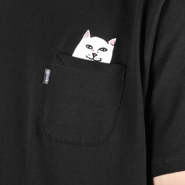Lord Nermal - Hidden Cat Flicking You off In T-shirt Pocket - Black