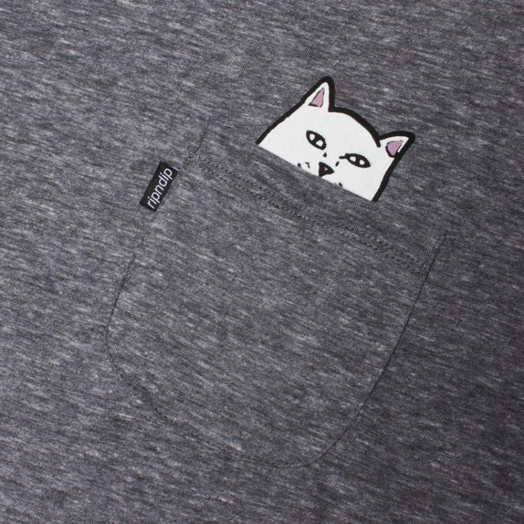 Lord Nermal - Hidden Cat Flicking You off In T-shirt Pocket - Grey
