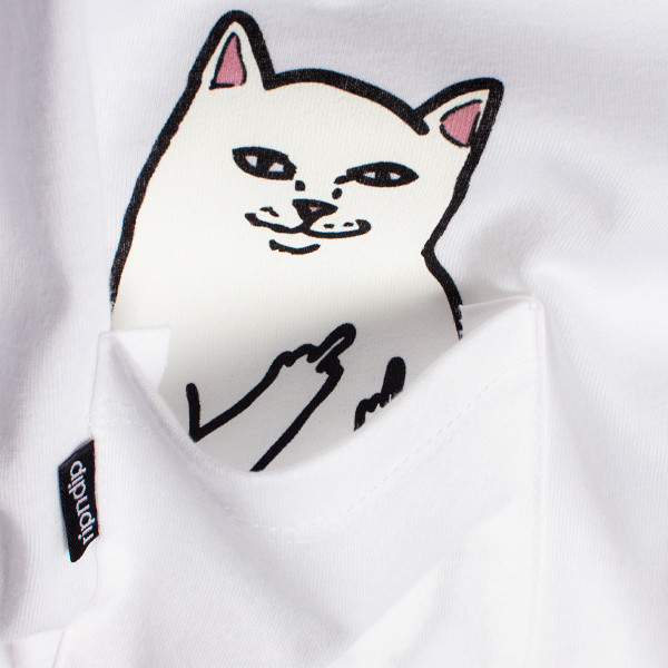 Lord Nermal - Hidden Cat Flicking You off In T-shirt Pocket - White