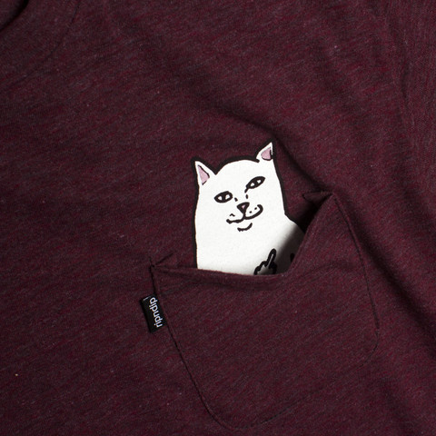 Lord Nermal - Hidden Cat Flicking You off In T-shirt Pocket - Red