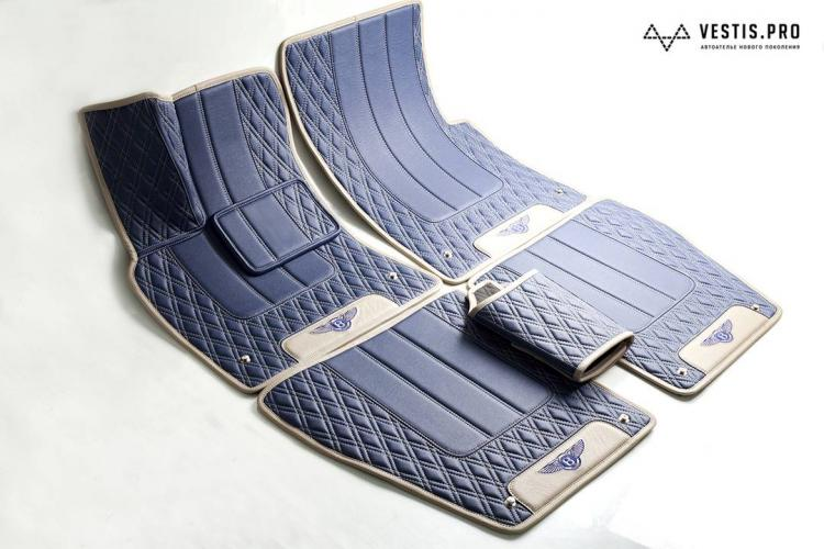 Diamond-Stitched Luxury Leather Custom Car Mats - premium stitching custom car floor mats