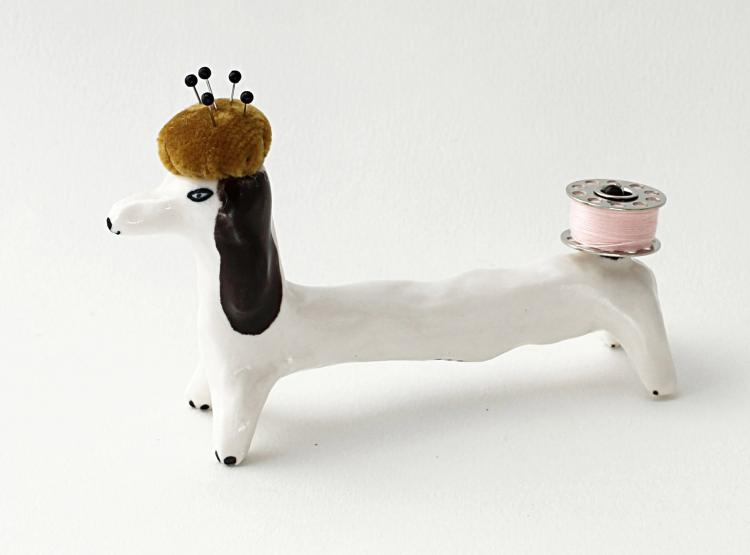Pincushion and String Holding Dog Ceramic Decor