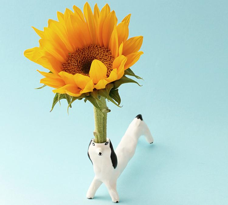 Flower Holding Dog Ceramic Decor
