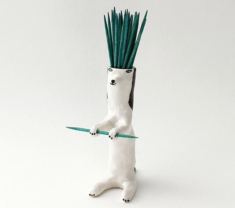 Toothpick Holding Dog Ceramic Decor