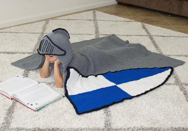 Medieval Knight Crochet Blanket - Hooded knight blanket with shield