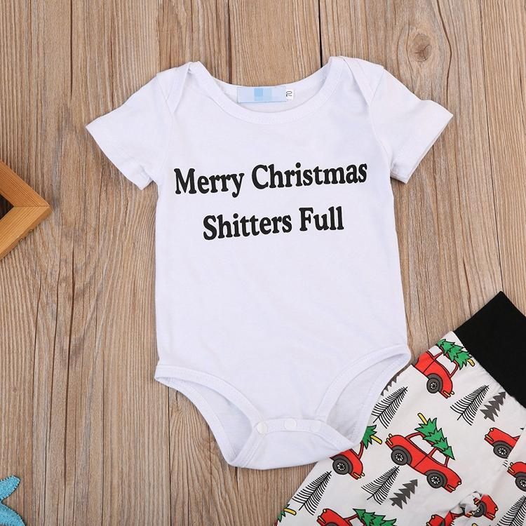 Merry Christmas, Shitters Full Baby Holiday Outfit - Funny Baby Christmas Outfit