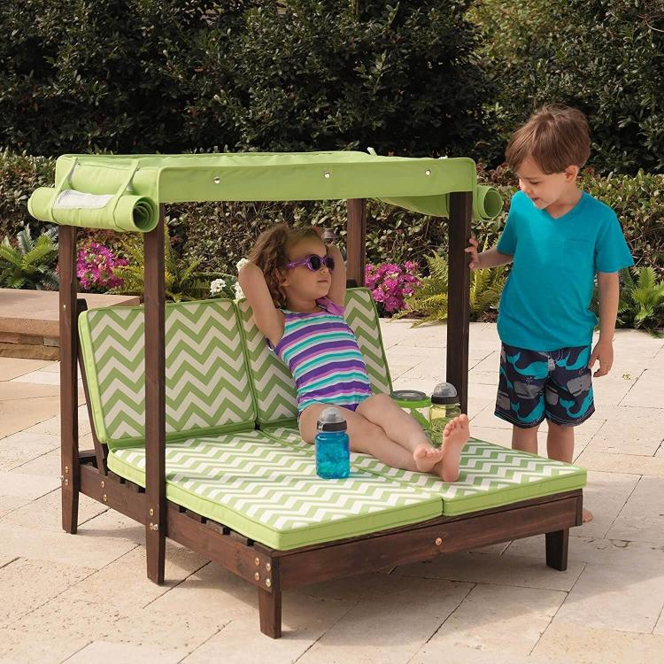 Mini Kids Outdoor patio furniture - Tiny kids pool furniture - Kids canopy double chaise lounge & Tiny Kids Patio Furniture - Mini Kids Pool Furniture