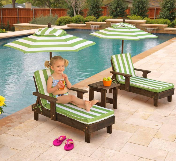 Mini Kids Outdoor patio furniture - Tiny kids pool furniture - Kids canopy chaise lounge
