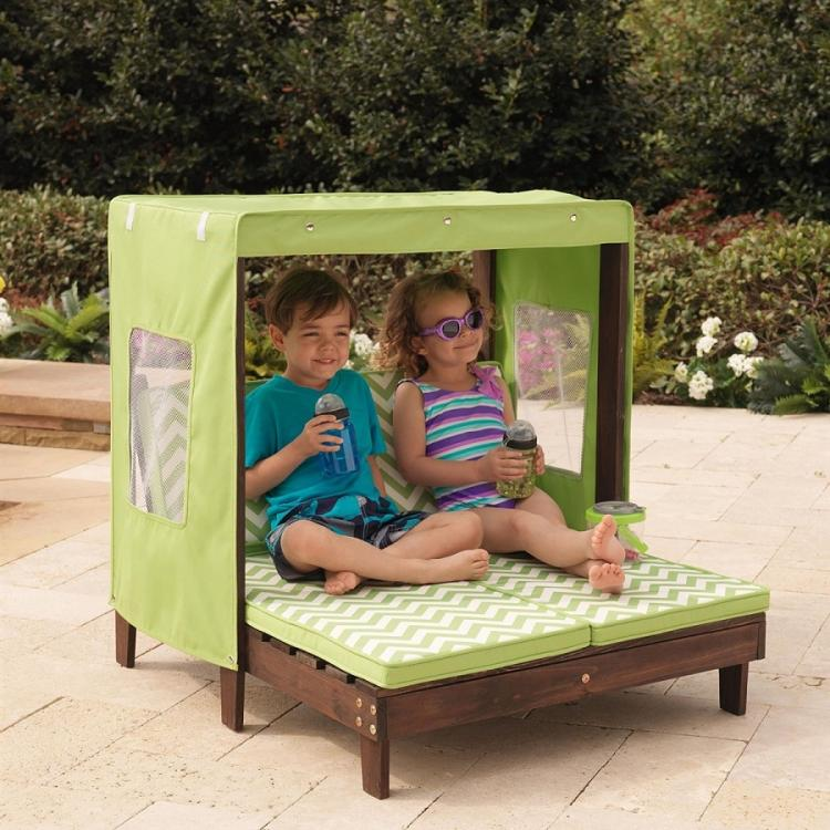 Mini Kids Outdoor patio furniture - Tiny kids pool furniture - Kids canopy double chaise lounge