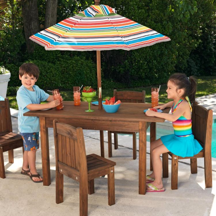 Mini Kids Outdoor patio furniture - Tiny kids pool furniture - Kids umbrella picnic table