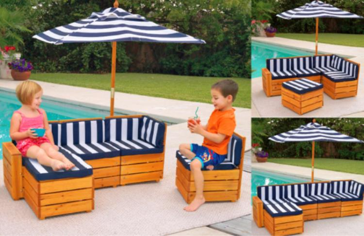 Mini Kids Outdoor patio furniture - Tiny kids pool furniture - Kids outdoor umbrella sectional sofa