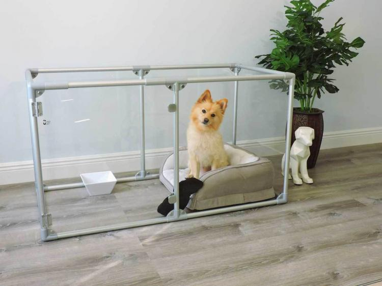 Modern Design Glass Dog Pens - Clearly Loved Pets Acrylic transparent dog kennel