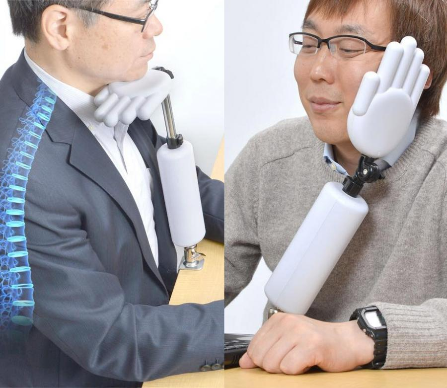 Hand Shaped Head Holder Makes For Better Posture and Naps At Work