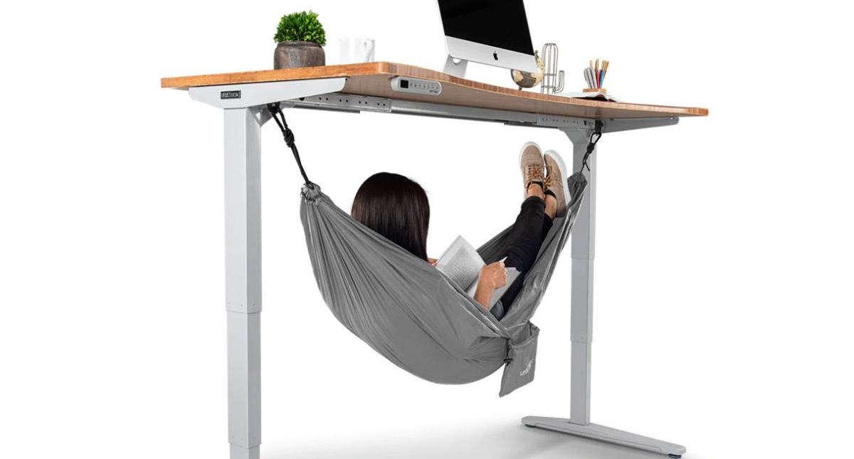 under-desk hanging hammock office napping area