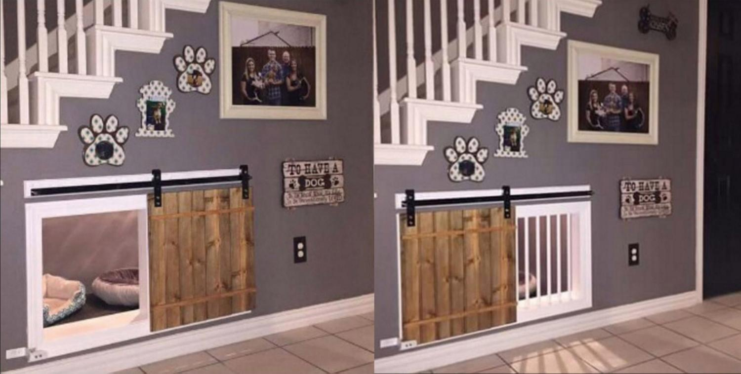 Most Creative Under The Stairs Home Designs - Barn door dog kennel under the stairs
