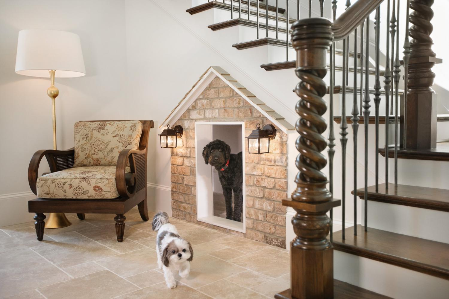Most Creative Under The Stairs Home Designs - Brick dog house under the stairs