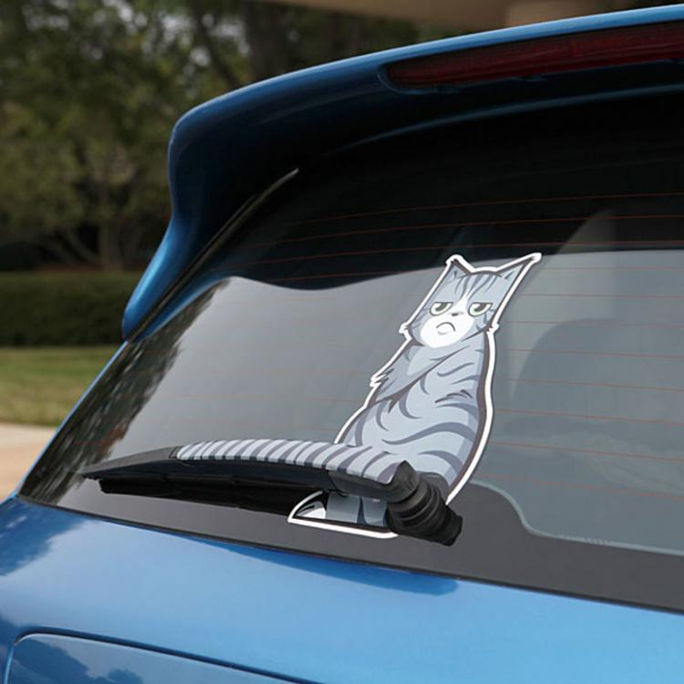 Wiper cat decal is made from vinyl measures 6 inches wide x 10 inches tall and is easily applied by sticking it to your window while dry and smoothing