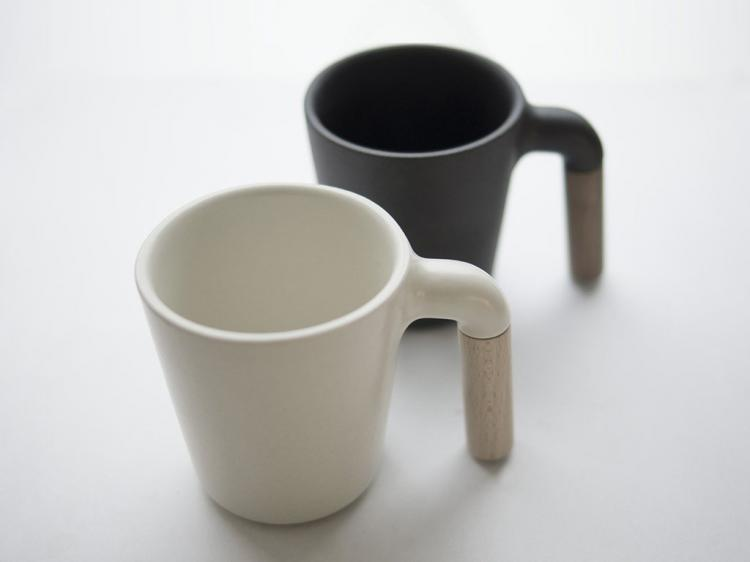 Unique Designer Coffee Mug - Mugr - ceramic and wood coffee mug
