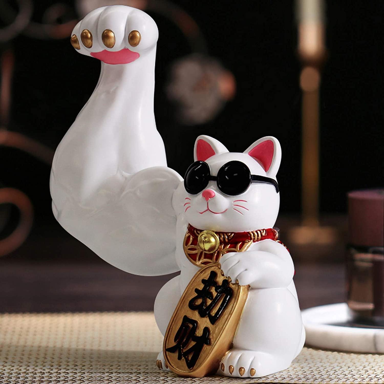 Super Muscular Waving Cat Statue (Maneki-Neko)