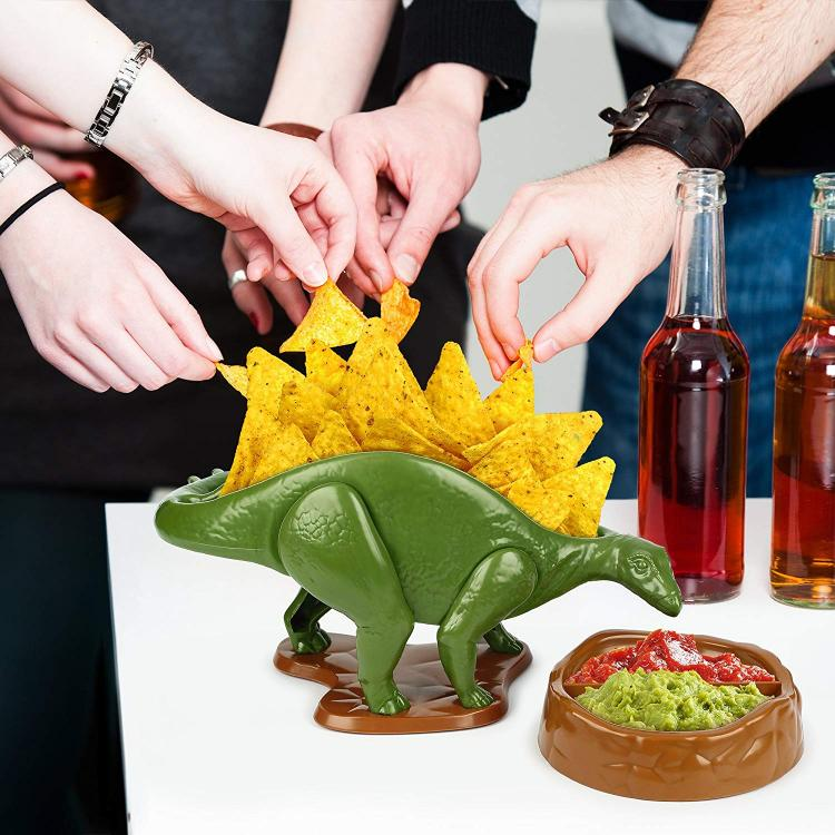 NACHOsaurus Dinosaur Chip Holder - Stegosaurus Snack bowl and dip bowl set