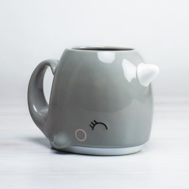 Narwhal Coffee Mug - Drink through the blowhole - Whale tail handle