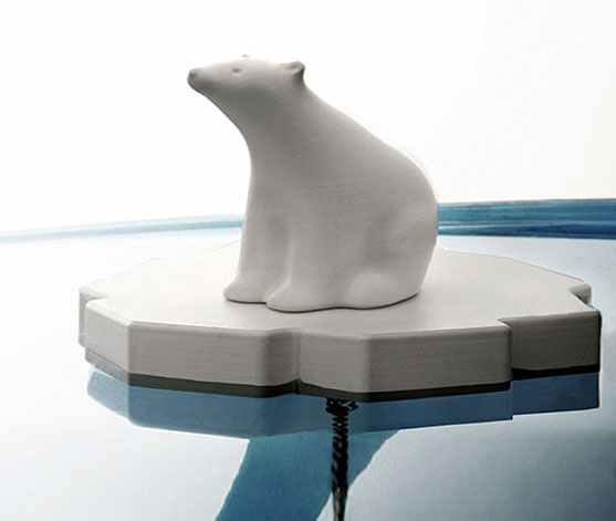 Polar bear on ice floe bathtub drain stopper - Climate change tub drain stopper