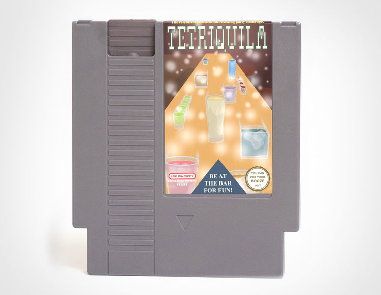 Tetriquila NES Cartridge Flask
