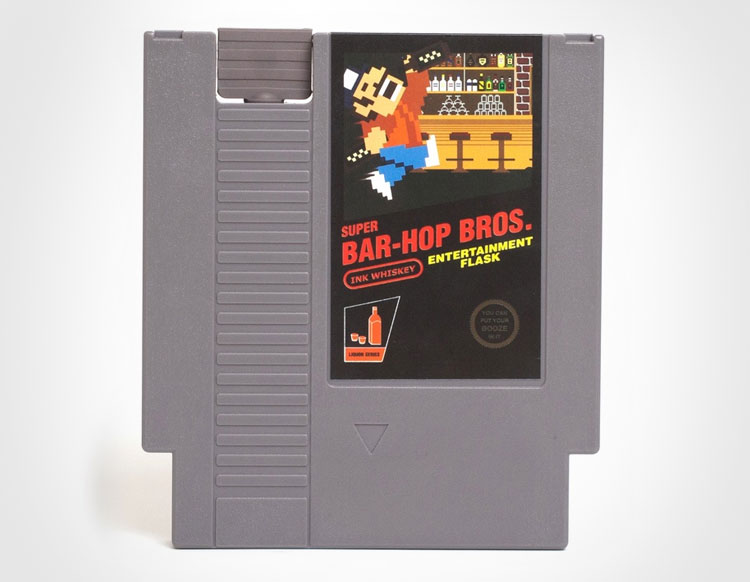 Super Bar Hop Bros NES Cartridge Flask