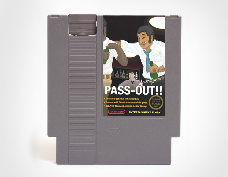 Spike Dyson's Pass Out NES Cartridge Flask