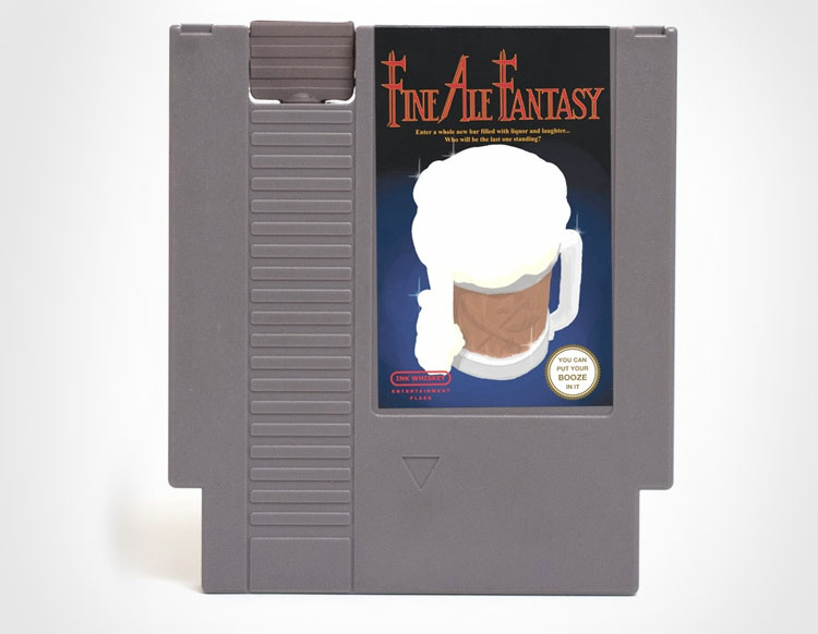 Fine Ale Fantasy NES Cartridge Flask