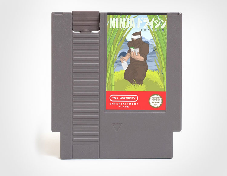 Ninja Dry Gin NES Cartridge Flask