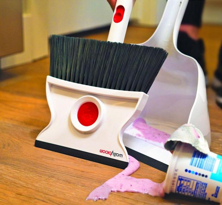 WallyBroom: A Broom and Squeegee Combo, Picks Up Both Wet or Dry Messes
