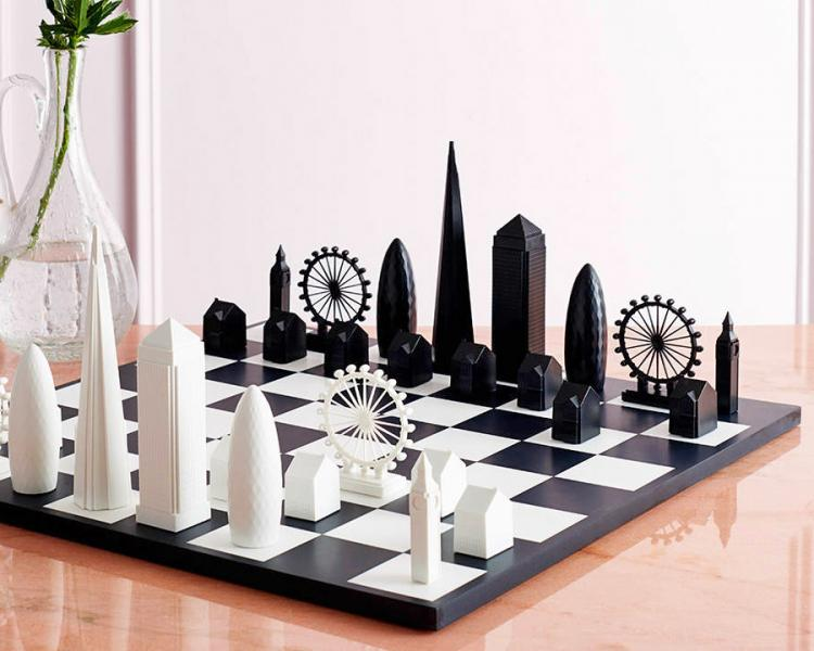 London Skyline Chess Set - Architecture skyscraper buildings chess board