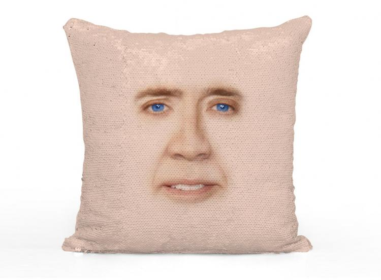 Nicolas Cage Face Sequin Pillow - Rub Sequin pillow to reveal Nicolas Cage's Face