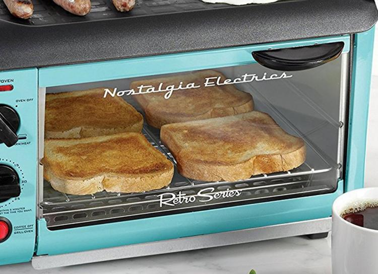 Nostalgia 3-in-1 retro 50's style breakfast station - breakfast appliance combines coffee maker, cooking griddle, and toaster-oven